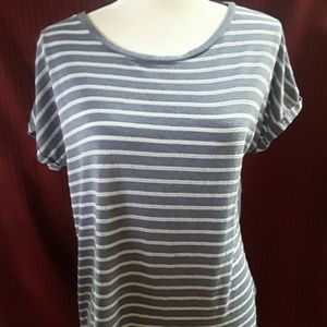 Stylus Heather Blue Striped Top, XL